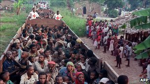 Rwanda refugees fleeing to the DRC.