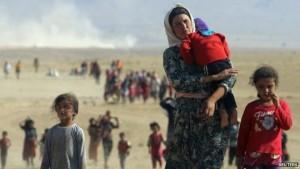 Yazidis fleeing