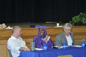 Panel on religion: Rabbi Michael Latz, Ms. Mariam Mohamed, and Reverend John Matthews