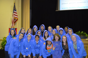 Students in their hoodies.