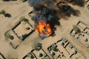 Darfur village burning.